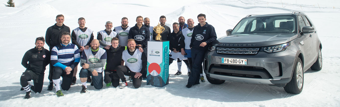 Land Rover hosts snow match to mark six months to the Rugby World Cup
