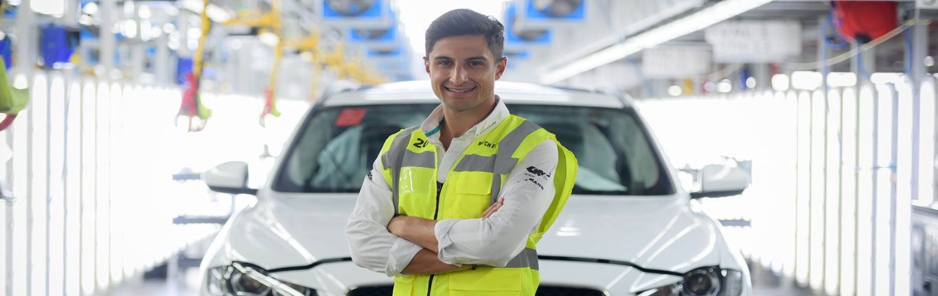Panasonic Jaguar Racing Driver Mitch Evans takes a pit stop at Solihull