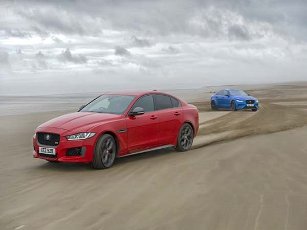XE 300 Sport and SV Project 8 display their shared bloodline on Pendine Sands