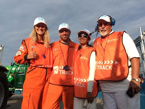 Gaydon engineering couple get close and personal as race marshals at the New York E-Prix