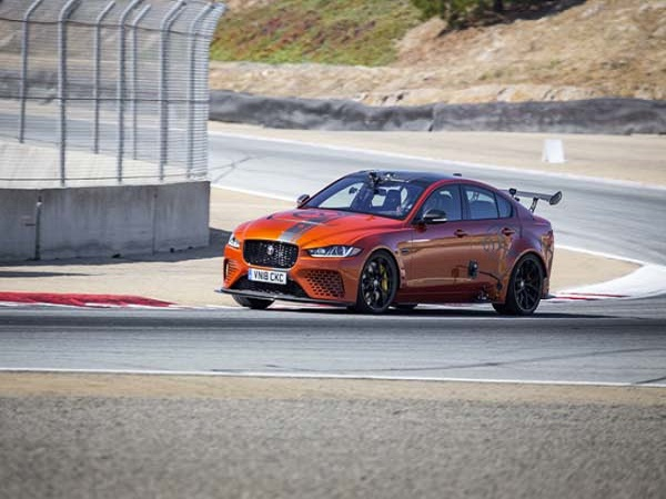 Supercar-rivalling XE SV Project 8 blitzes the Laguna Seca four-door lap record