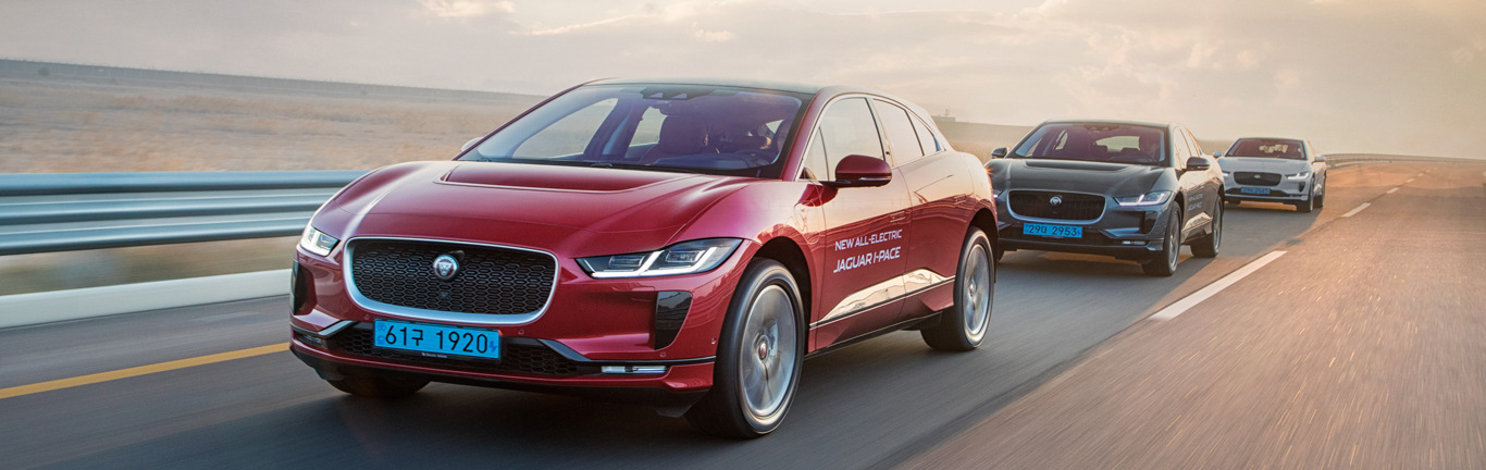 Customers drive the Jaguar I-PACE at its launch in Korea