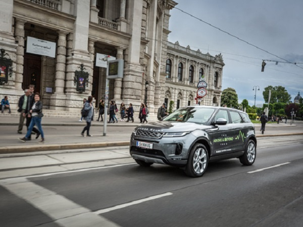 Prospective customers test drive the new Range Rover Evoque in Vienna